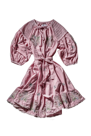 Innika Choo Long Sleeve Embroidered Midi Smock Dress in Pink Dresses