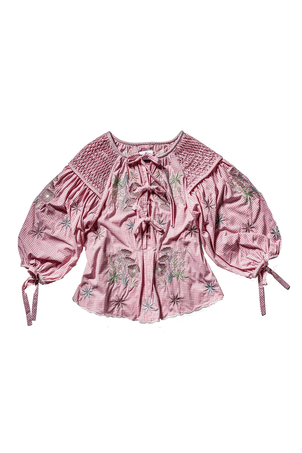 Innika Choo Embroidered Smocked Long Sleeve Top in Pink Tops