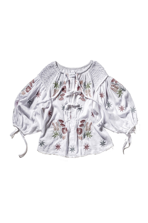 Innika Choo Embroidered Smocked Top Tops