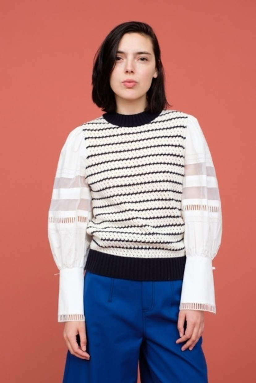 Sea SEA NEW YORK COCO COMBO SLEEVE STRIPE SWEATER Tops