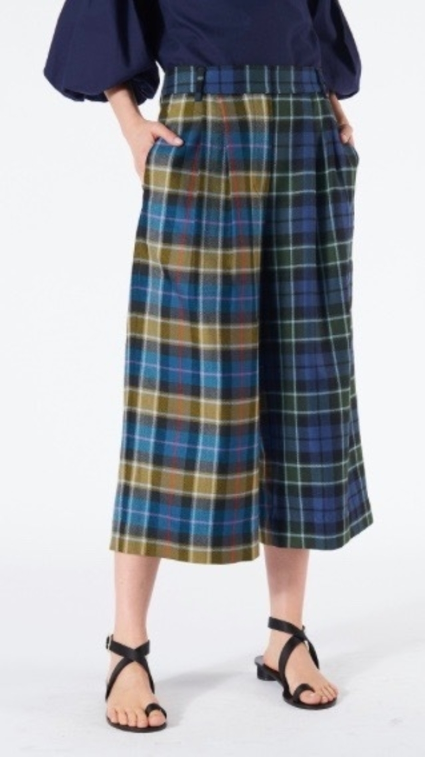 Tibi TIBI TARTAN STELLA CULOTTE GREEN MULTI PLAID Pants