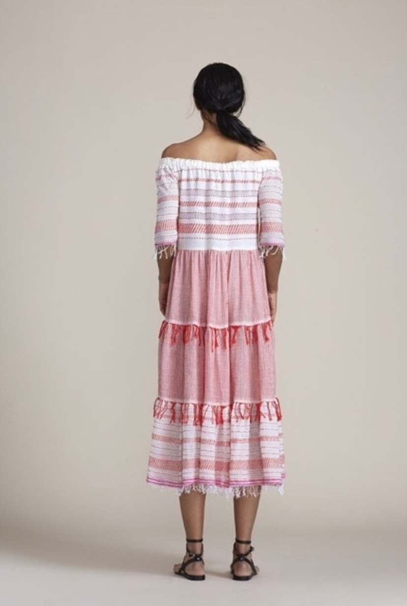 lemlem LEM LEM TIKI LONG TIER DRESS RED Dresses