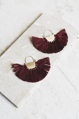 Joya Favorite Fringe Earrings - Burgundy Jewelry