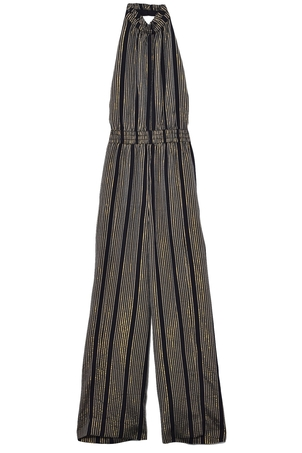 Apiece Apart Archer Backless Jumpsuit in Black Stripe Dresses