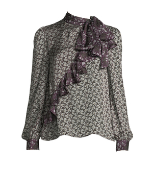 Co Ruffle Floral-Print Crepe Silk Blouse Tops