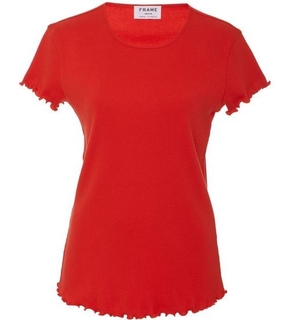 Frame Denim Lettuce Edge Tee - Red Tops