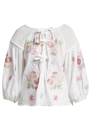 Innika Choo Embroidered Smocked Top - White/Pink Tops