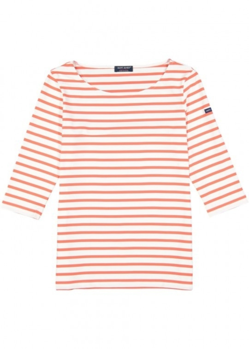Saint James Garde Tee - Neige/Orange Tops