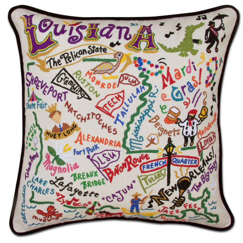 Louisiana Hand Embroidered Pillow Home decor