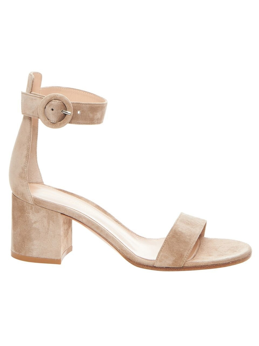 Gianvito Rossi Gianvito Rossi - Nude Suede Heeled Sandal Shoes