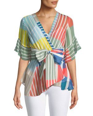 Tanya Taylor Color Block Stripe Top Tops
