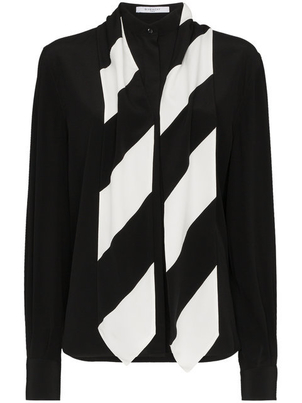 Givenchy Silk Stripe Tie Neck Blouse Tops