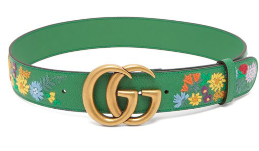 Gucci Embroidered Green GG Belt Accessories