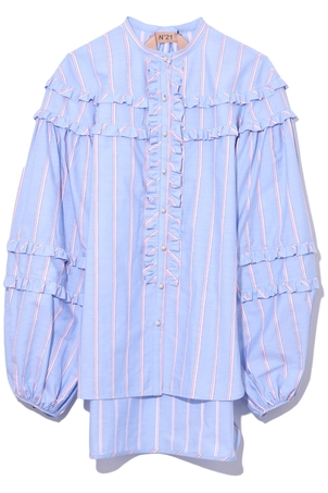 N°21 Ruffle Shirt in Striped Tops