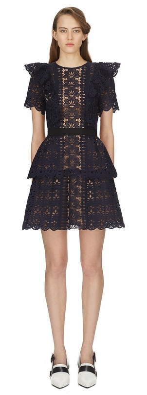 Self-Portrait Guipure Mini Dress Dresses