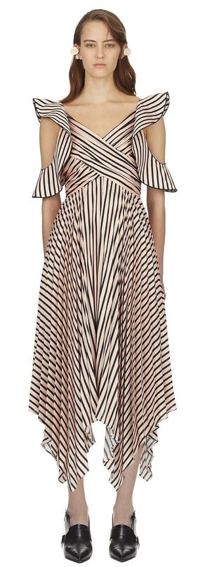 Self-Portrait Asymmetric Stripe Dress Dresses