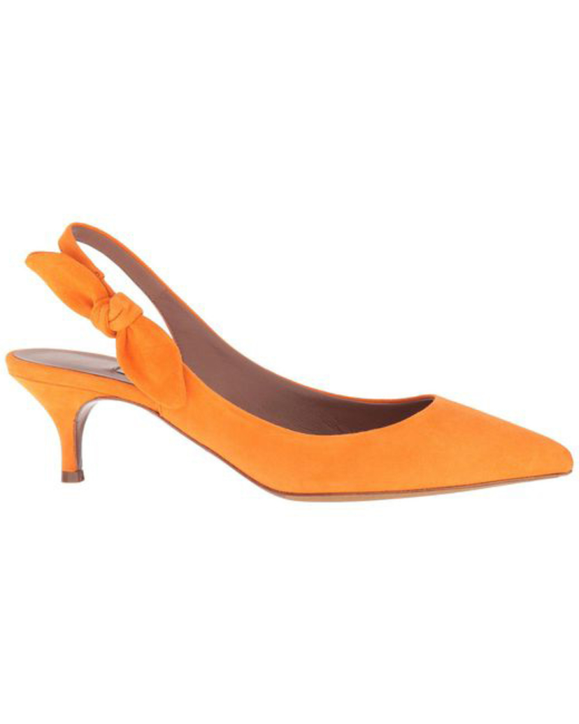 Tabitha Simmons Rise Suede Kitten Heel with Bow in Orange (Originally $645) Sale Shoes