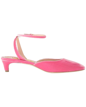 Rupert Sanderson Cornelia Kitten Heel in Velvet Rose Quartz Shoes