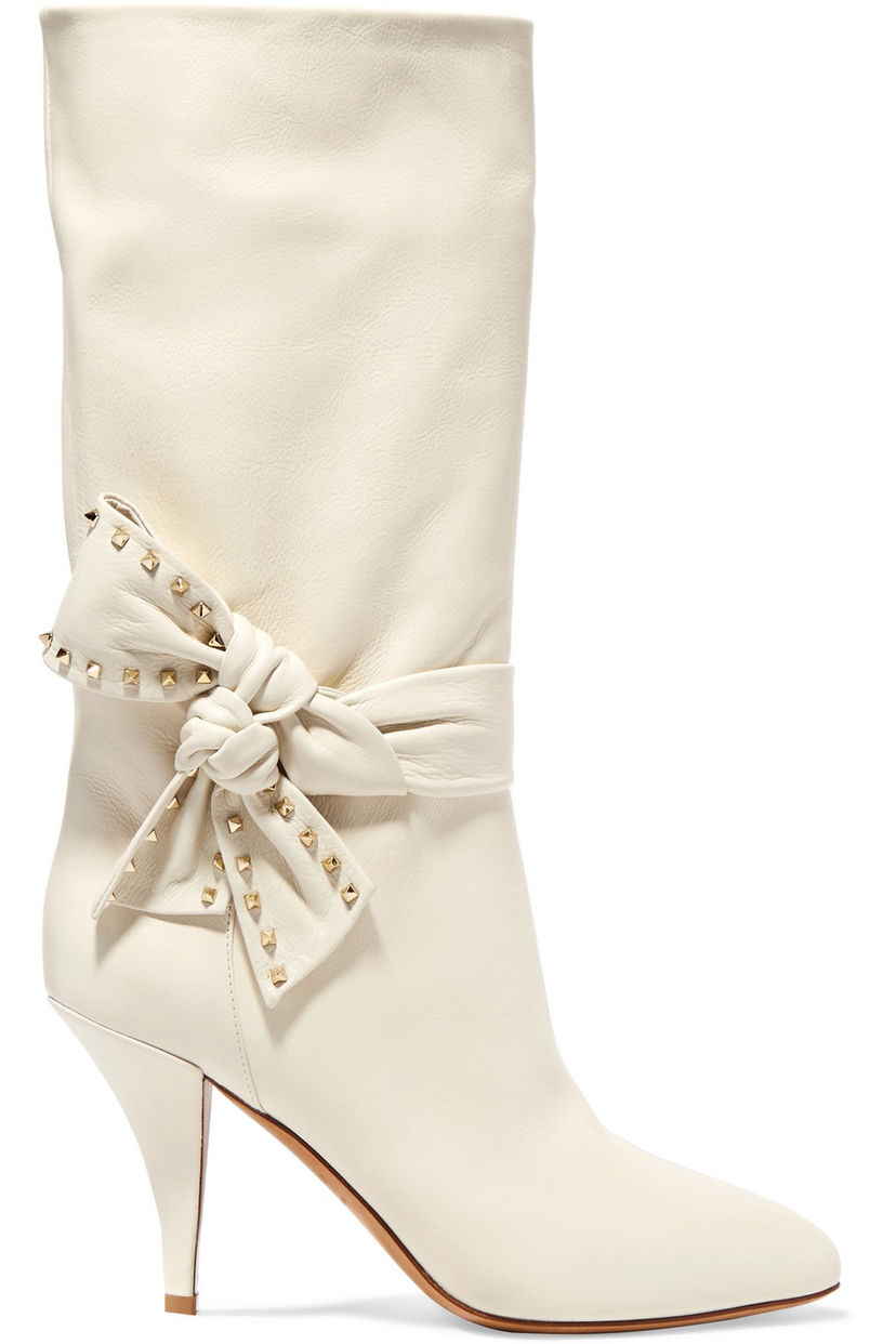 Valentino White Leather Boots with Studded Bow Shoes