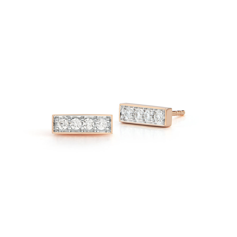 Walters Faith Rose Gold & Diamond Mini Bar Studs Jewelry