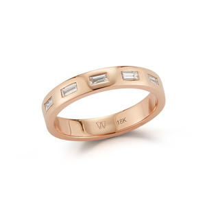 Walters Faith Rose Gold and Diamond Baguette Ring Jewelry