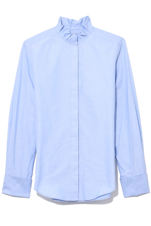 Protagonist Pleated Collar Shirt in Chambray Blue Tops