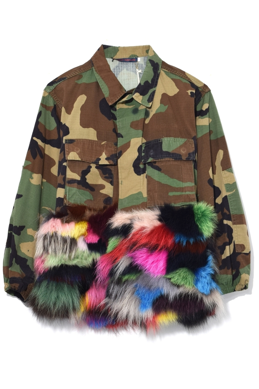 Harvey Faircloth Camouflage Jacket with Fur Panel in Multicolor Outerwear