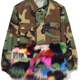Camouflage Jacket with Fur Panel in Multicolor