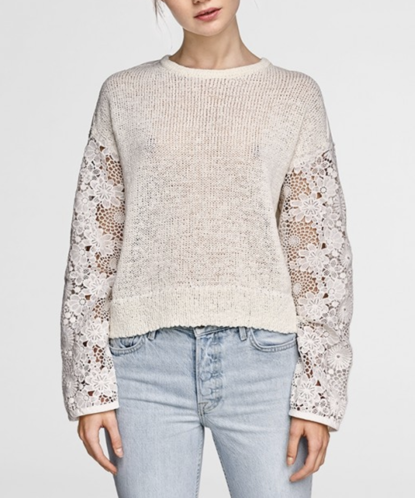 White + Warren Floral Lace Sleeve Crew Neck Sweater - Ivory Tops