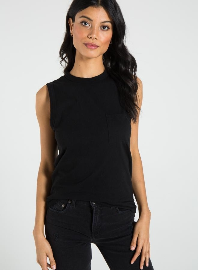 n:PHILANTHROPY Arch Open Back Tank - Black Tops