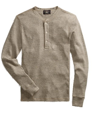 RRL LONG SLEEVE HENLEY CAMP SHIRT Men's