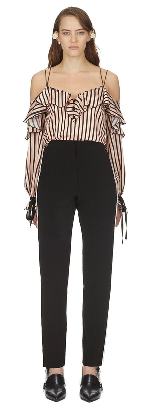 Self-Portrait Stripe Frill Top Tops