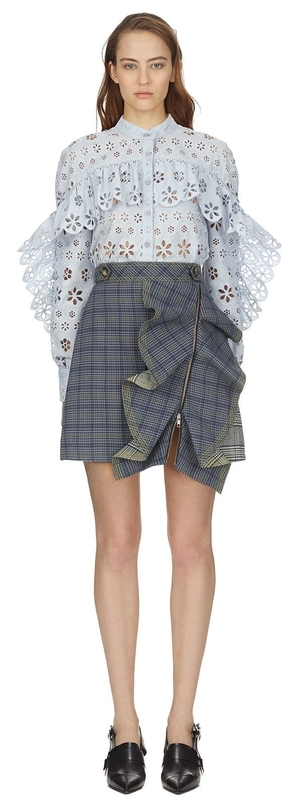 Self-Portrait Flounce Check Skirt Skirts