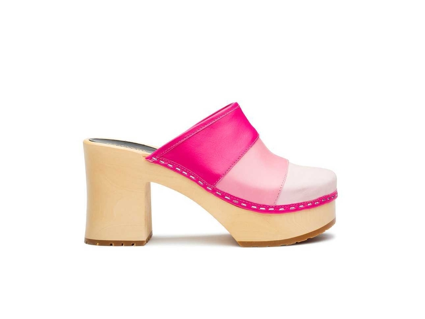Swedish Hasbeens Color Combo Slip In Clog in Pink Shoes