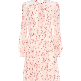 Ivory Floral Silk Chiffon Dress
