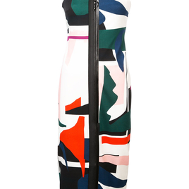 Expressionist Print Zip-Up Dress