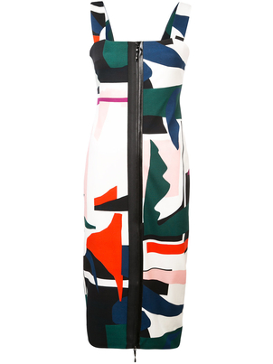 Cushnie et Ochs Expressionist Print Zip-Up Dress Dresses