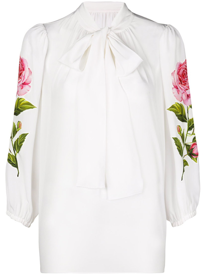 Dolce & Gabbana Long Sleeve Floral Printed Blouse Tops