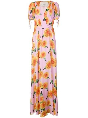 Carolina Herrera Short Sleeve Multicolored Floral Gown Dresses