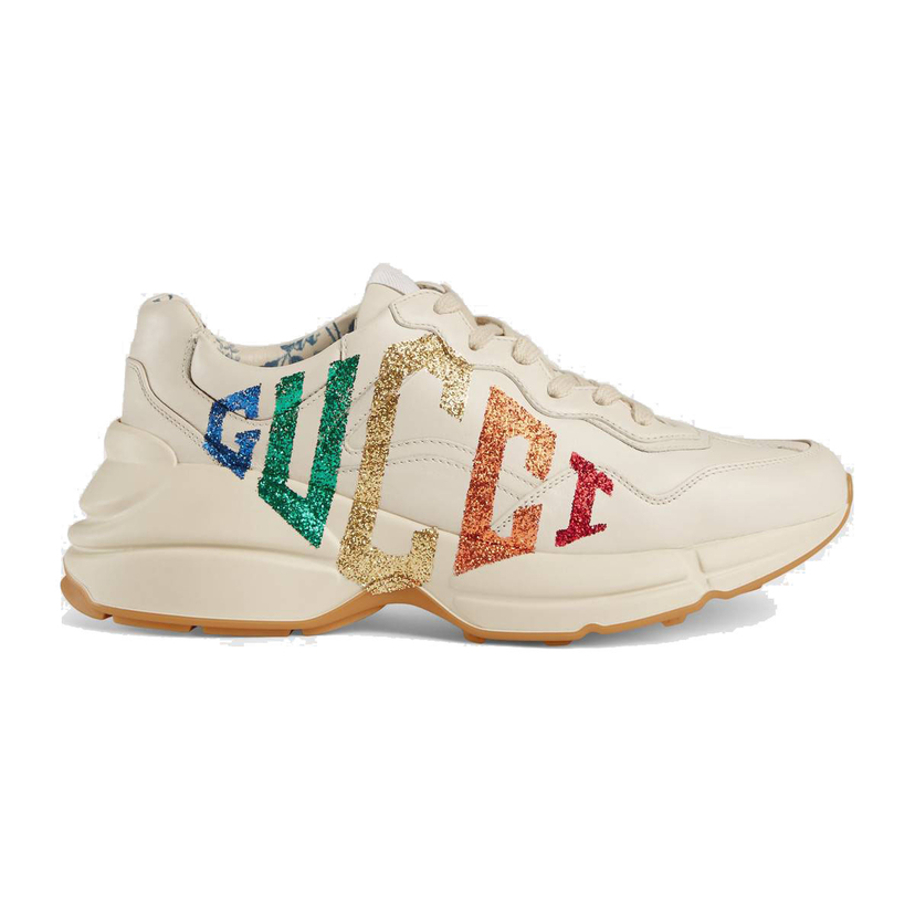 Gucci Rhyton Glitter Logo Leather Sneakers Shoes