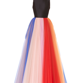 Multicolored Pleated Tulle Gown