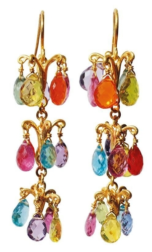 Marie-Hélène de Taillac 22K Yellow Gold Pom Pom Multicolored Earrings Jewelry