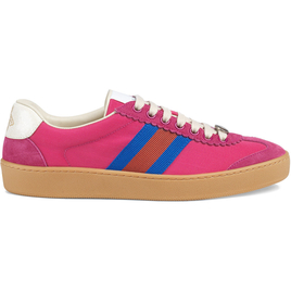 Pink Nylon and Suede Web Sneakers