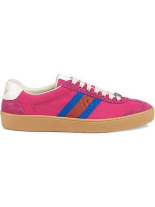 Gucci Pink Nylon and Suede Web Sneakers Shoes