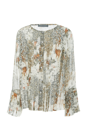 Alberta Ferretti Fantasy Print Pleated Silk Blouse Tops