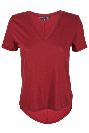 Veronica Beard Cindy V-Neck T-shirt Red Tops