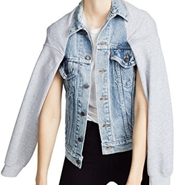 Cape Sleeve Denim Jacket - Heather Grey