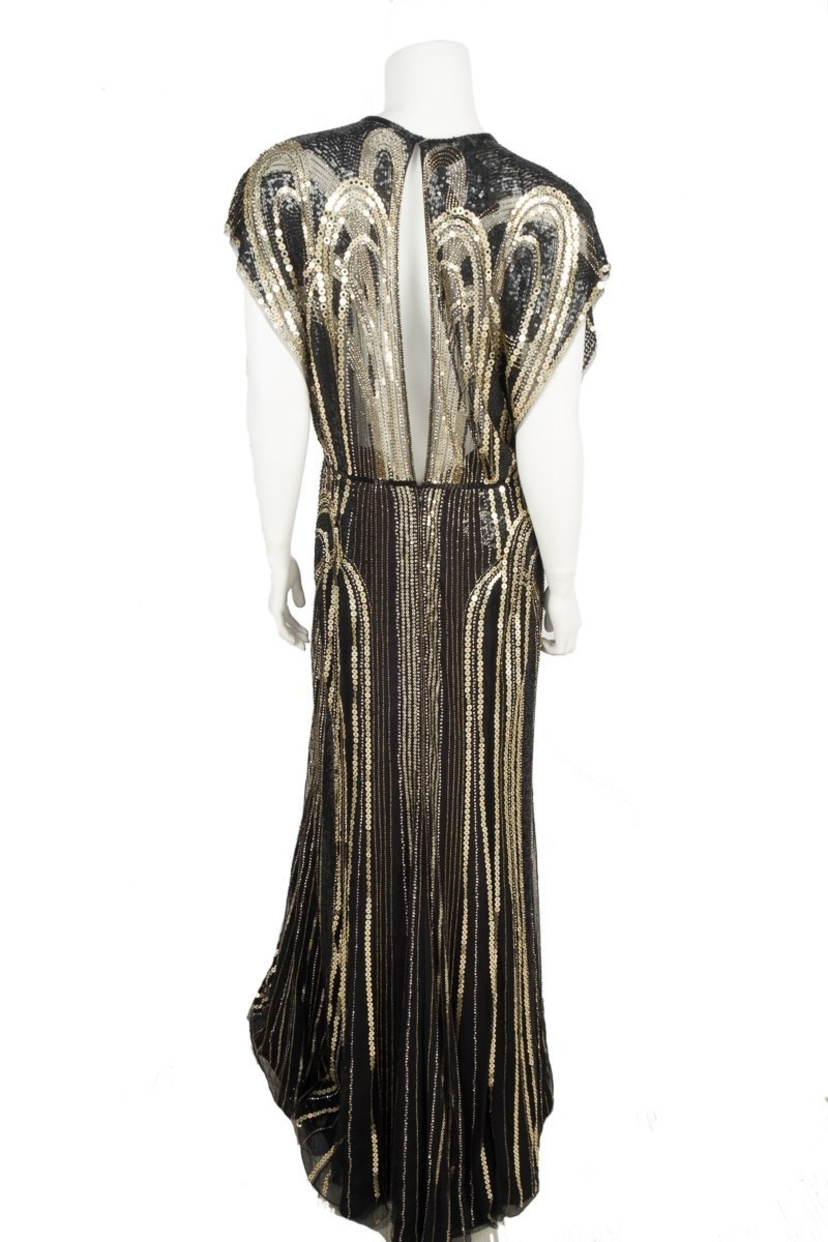 Jenny Packham Black and Gold Beaded Gown Sz 8 | House Account