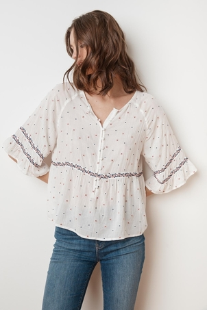 Velvet Linnea Floral Embroidered Button Blouse Tops