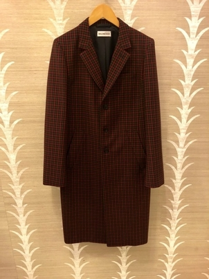 Balenciaga BALENCIAGA SHAPED SINGLE BREASTED COAT RED/KHAKI WOOL CHECK Outerwear